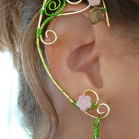 Pair of GoldenWoven Wire Elf Ear Cuffs with Czech Glass Flowers and Green Leaves Renaissance, Elven
