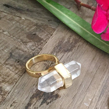 Janna Conner / Rock Crystal / Cocktail Ring / Architectural Jewelry / Statement Jewelry / Bridal Jewelry / Unique gifts for her / Unique