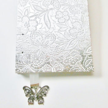 Guest Book | Wedding Journal | Gift for Bride | Personal Diary | Blank Book | Writing Journal | Handmade Journal | Silver Journal | Coptic