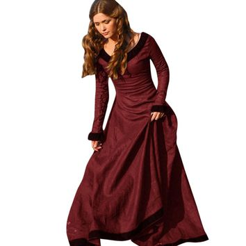 Autumn Spring Women Vintage Medieval Dress Costume Princess Renaissance Gothic Floor-Length Dress