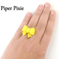 Yellow Bow Ring, Bow Jewelry, Yellow Jewelry, Sunflower Yellow Bow Ring, Polymer Clay Ring, Gifts for Her, Cute Jewelry