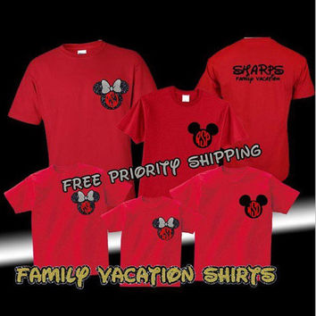Free Shipping Custom Disney Minnie & Mickey Family Vacation Shirts Personalized, Mickey Ears, Family Shirts