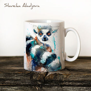 Lemur Mug Watercolor Ceramic Mug Unique Gift Coffee Mug Animal Mug Tea Cup Art Illustration Cool Kitchen Art Printed mug
