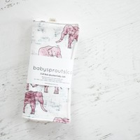 Burp Cloth in Elephant Wine