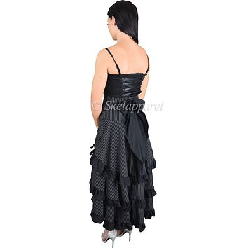 Gothic Victorian Steampunk Black Pinstriped Tiered Tail Long Stripe Bustle Skirt