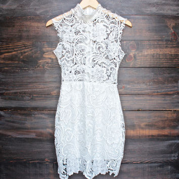 Lioness wedding bells sleeveless lace bodycon dress - white