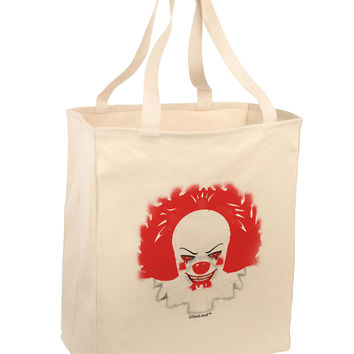 Extra Scary Clown Watercolor Large Grocery Tote Bag
