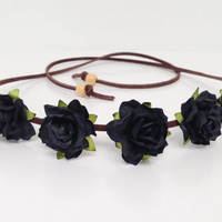 Custom Flower Crown - Flower Headband - Music Festival Wear, Coachella, Rave or any occasion - Small Bloom - New Color-Black