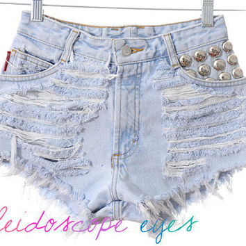 Bongo STUDDED Destroyed Trashed High Waist Denim Cut Off Studded Shorts XXS