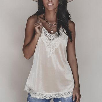 Rose Water Taupe Velvet Cami