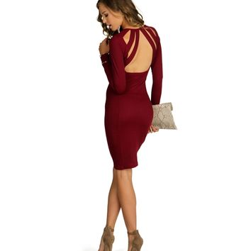 Burgundy First Impressions Midi Dress