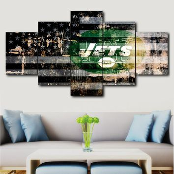 Decorative painting canvas painting 5 pieces New York Jets sports logo poster printing for living room home decoration
