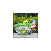 Sintechno Inc Cute Gnome Dragging the Flower Novelty Pot Planter