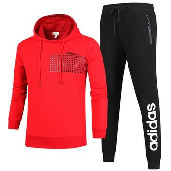 ADIDAS autumn and winter new casual sportswear outdoor running clothes two-piece suit red