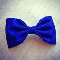 Colbalt Blue Lace hair fabric bow from Bowlicious Divas Bowtique