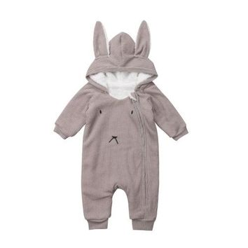 Toddler Newborn Baby Boys Girls Rabbit Ears Thick Warm Hoodies Hooded Romper Jumpsuit Long Sleeve Cute Baby Clothes 0-24M