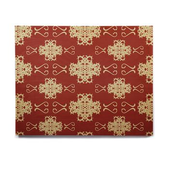 "Mydeas ""Asian Motif Damask"" Red Pattern Birchwood Wall Art"