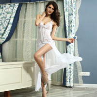On Sale Cute Hot Deal Lace Deep V Spaghetti Strap Ladies Sexy Transparent Sleepwear Dress Exotic Lingerie [6596725059]