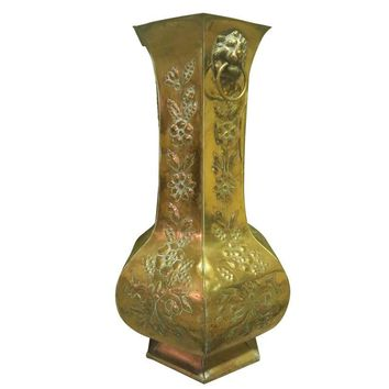 Pre-owned Antique Hammered Brass Umbrella or Cane Stand