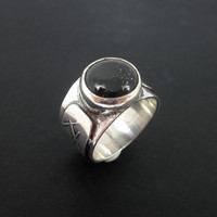 Black Jade Ring, Galactic Black Jade, Black Stone Ring, Scrying Ring, Jadeite Jade, Men's Ring
