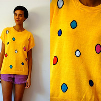Vtg Colorful Polka Dot Yellow SS Knitted Sweater