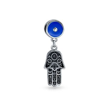 Hamsa Hand Blue Evil Eye Dangle Charm Bead Sterling Silver Bracelet