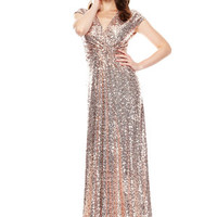 BADGLEY MISCHKA Blush Ruched Front Evening Sequin Gown