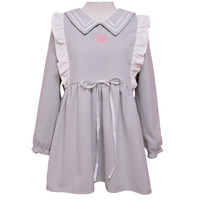 Cute Girls Heart Embroidery Ruffles Trim Casual Loose Autumn Long Seeve Dress Color Grey One Piece One Size