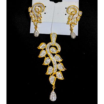 Stylish One gram gold polished long leaf design Pendant and Earring Set with cz stones