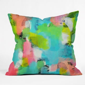 Natalie Baca Butterflies And Rainbows Outdoor Throw Pillow