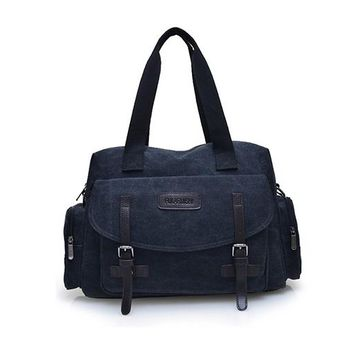 Large Capacity Casual Tote Bag Men Canvas Top Handle Bags Travel Messenger Bag Male High Quality Handbag Notebook Computer Pack