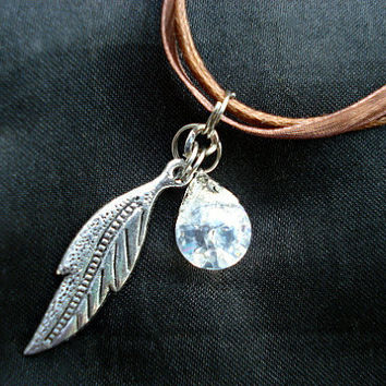 Leaf Crystal Marble Nature Brown Ribbon Necklace