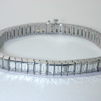 11.70ct Emerald Cut Diamond Bracelet 18kt White Gold Anniversary Bracelet Gift JEWELFORME BLUE