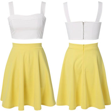 White Crop Top with Yellow A-line Skirt Matching Set