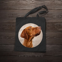 Tote bag - Hungarian Vizsla portrait on rustic cotton background - Market tote, canvas tote, book bag, gift, pet, fashion, dog, friend