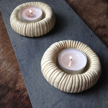 Set of 2 handmade, off-white ceramic tea light candle holders