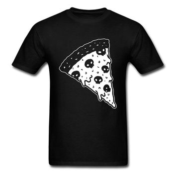 Death By Pizza T Shirt Men Skulls T-shirt Foodie Tops Junk Food Tee Shirts Printed Halloween Clothing Hip Hop Tshirt