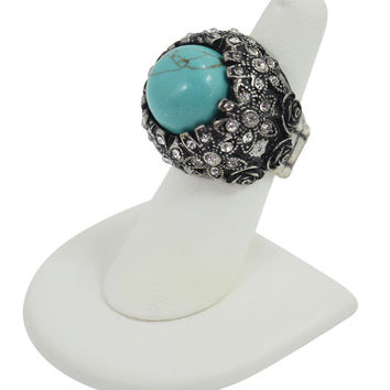Western Cowgirl Boho Blue Turquoise chunky Ring