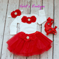 Baby girl tutu with Onesuit....baby tutu...newborn tutu....Christmas outfit...