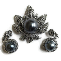 Vintage Marcasites & Dark Gray Hematite Glass Pearl Leaf Brooch and Dangle Earrings Demi Parure Set