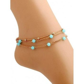 Beads Layered Leg Gemstone Anklets - Golden