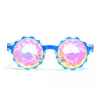 GloFX * Crown Blue Kaleidoscope Glasses- Rainbow LE