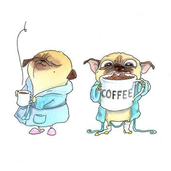 Coffee Pugs Art Print - Cute Pug Home Decor, Kitchen Art, Coffee Art, Pug Art from Original Illustration by InkPug!