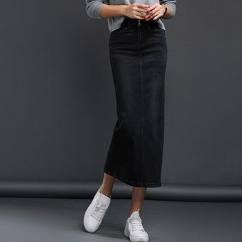 women's long denim skirt 2017 korean style back split long stretch denim skirt autumn/winter high waist jeans wrap hip skirt