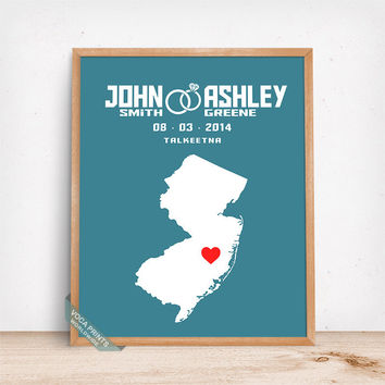 New Jersey Print, Map Gfit, Wedding Gift, Anniversary Gift, Dorm Decor, Personalized Art, Wall Art, Home Decor, Mothers Day Gift