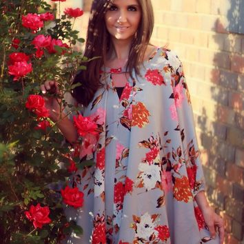 Jodifl Gray Keyhole Tunic Dress with Coral Floral Print