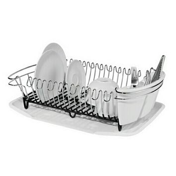 3 Piece -16 Plate Dish Drain Set w/Drip Tray & Utensil Holder Mirror Finish Wire Frame w/ Soft Touch Black PVC Coating