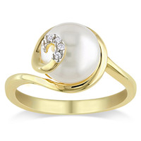 Miadora Gold Over Silver Freshwater Pearl and Diamond Accent Ring | Overstock.com Shopping - The Best Deals on Pearl Rings