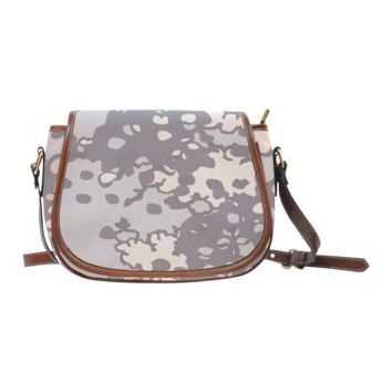Women Shoulder Bag Brown And Gray Camouflage Saddle Bag Large