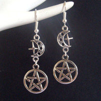Silver Pentagram Earrings Pentacle Earrings Wicca Earrings Wiccan Pagan Earrings Pentagram Moon Earrings